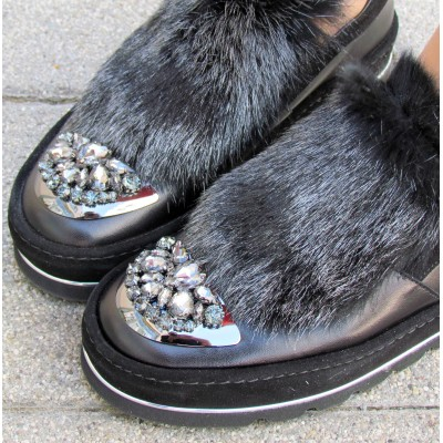 Accademia fekete szőrmés cipő