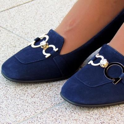 Marino Fabiani sötétkék velúr cipő