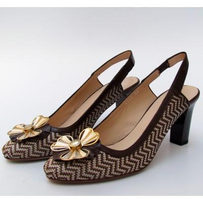 Nouchka barna-krém sling cipő