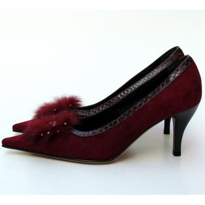 Nouchka bordó velúr cipő