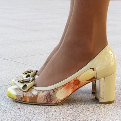 Nouchka krém-mintás magassarkú cipő