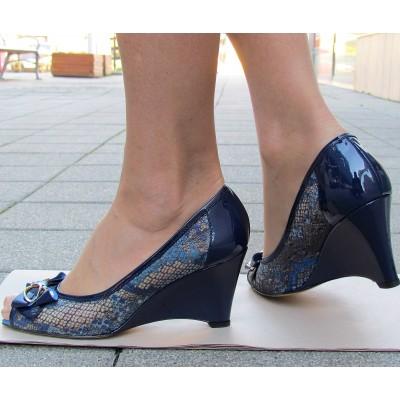 Nouchka kék telitalpú elöl nyitott cipő