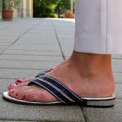 Chiara Pasquini kék-ezüst papucs
