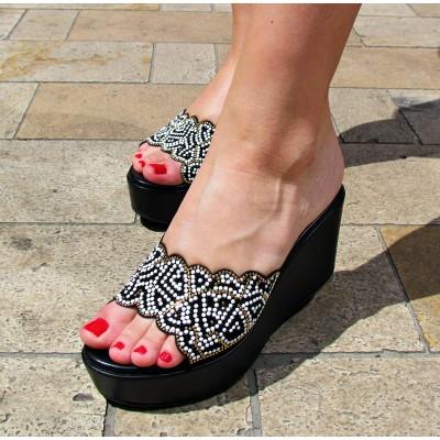 Chiara Pasquini fekete telitalpú papucs
