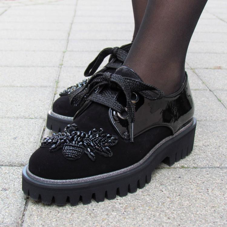 Pertini fekete velúr cipő