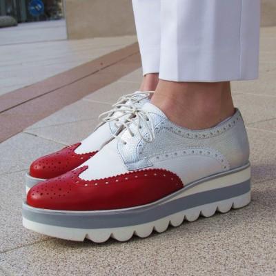 Pertini piros-fehér fűzős cipő