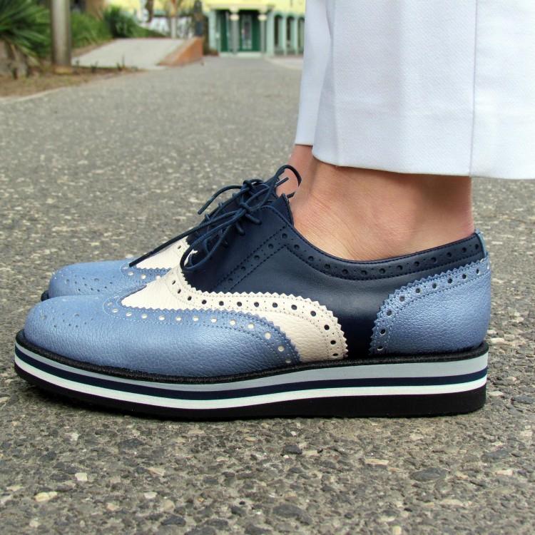 Pertini kék-fehér fűzős cipő
