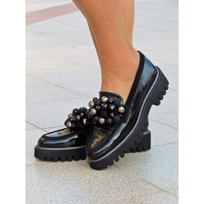 Pertini fekete gyöngyös cipő