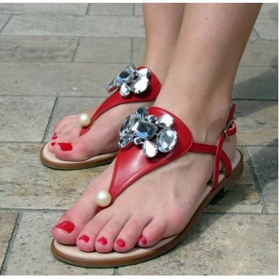Pertini piros, köves lábközti szandál