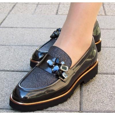 Pertini fekete glitteres félcipő
