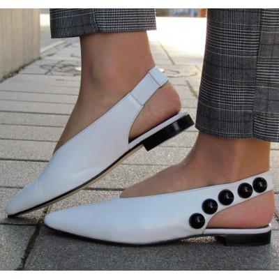 Pertini fehér hátul nyitott cipő