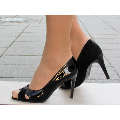 Peter Kaiser fekete bőr magas cipő