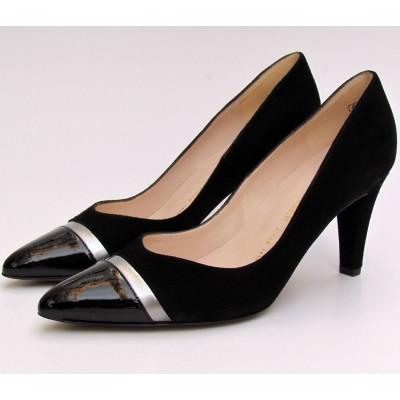 Peter Kaiser fekete-ezüst velúr cipő