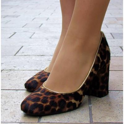 Pollini ocelotos szőrös cipő