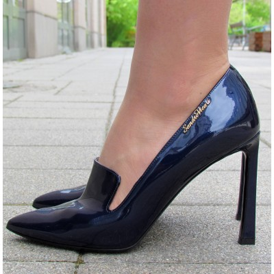 Sandro Vicari sötétkék magas cipő