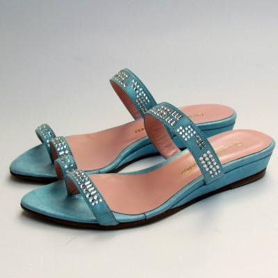 Giuliano Venanzi kék swarovski köves papucs