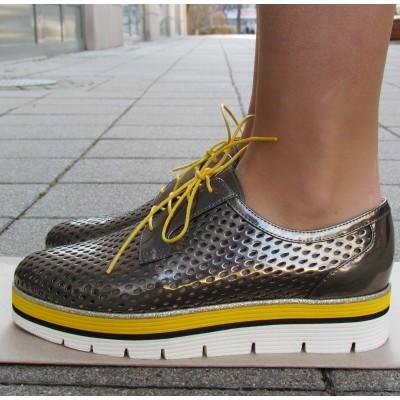 Zocal sötét ezüst-sárga fűzős cipő