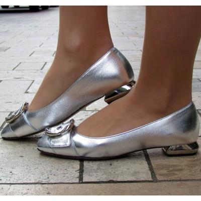 Zocal ezüst balerina cipő