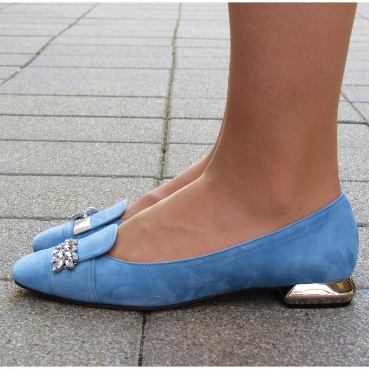 Zocal kék velúr balerina