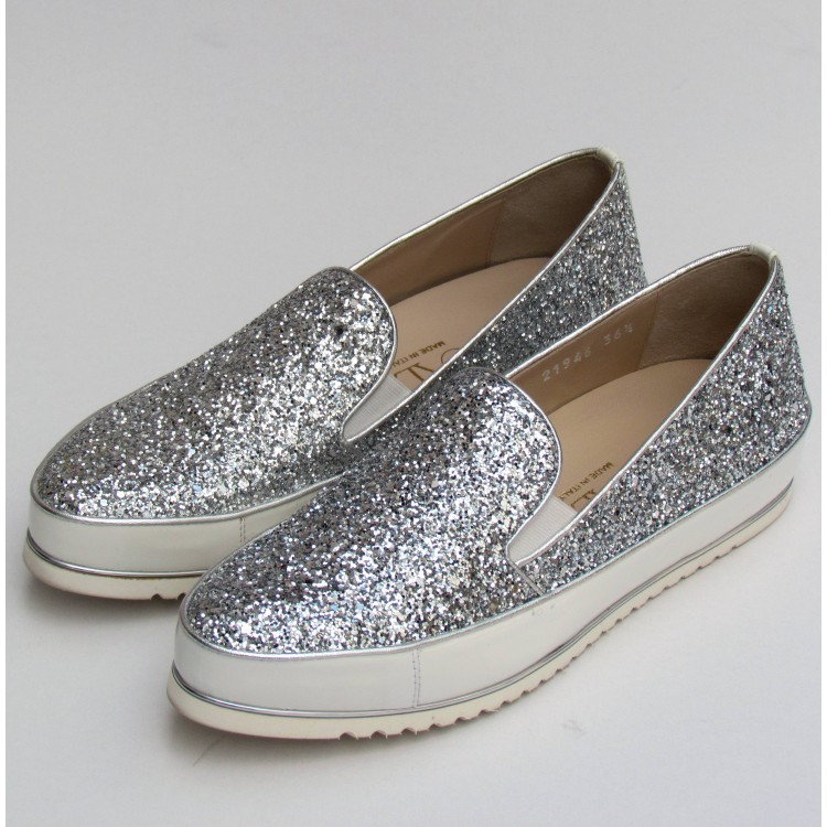 Zocal ezüst glitteres slipon